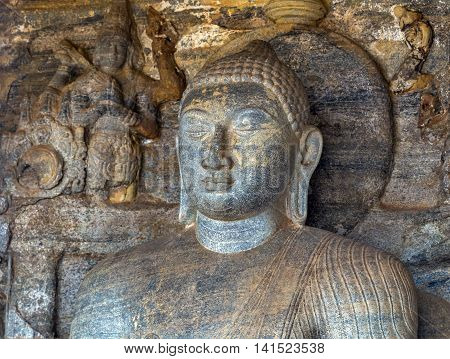 Statue Face Buddha At Gal Vihara In Polonnaruwa City Temple Sri Lanka. World Heritage Convention, Un