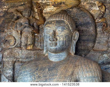 Statue Face Buddha At Gal Vihara In Polonnaruwa City Temple Sri Lanka. World Heritage Convention, Un