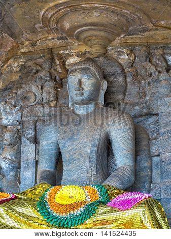 Statue Buddhism At Gal Vihara In Polonnaruwa City Temple Sri Lanka. World Heritage Convention, Unesc