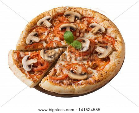 Tasty pizza with meat mushrooms and tomato isolated on white