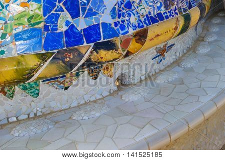 Bench Mosaic At The Parc Guell Barcelona Spain By Famous Architecture Anthoni Gaudi.