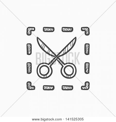 Scissors with dotted lines vector sketch icon isolated on background. Hand drawn Scissors with dotted lines icon. Scissors with dotted lines sketch icon for infographic, website or app.