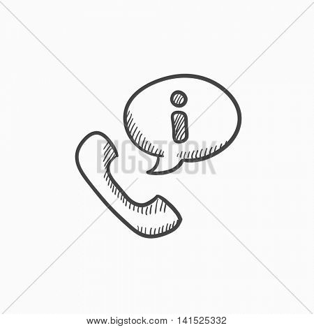 Handset with information sign vector sketch icon isolated on background. Hand drawn Handset with information sign icon. Handset with information sign sketch icon for infographic, website or app.
