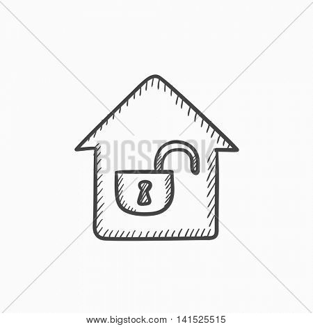 House with open lock vector sketch icon isolated on background. Hand drawn House with open lock icon. House with open lock sketch icon for infographic, website or app.