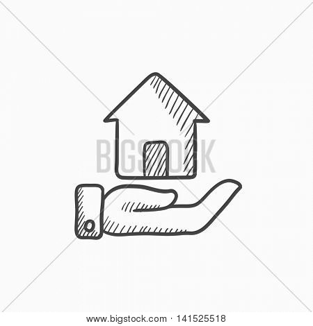 House insurance vector sketch icon isolated on background. Hand drawn House insurance icon. House insurance sketch icon for infographic, website or app.