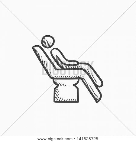 Man sitting on dental chair vector sketch icon isolated on background. Hand drawn Man sitting on dental chair icon. Man sitting on dental chair sketch icon for infographic, website or app.