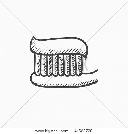 Toothbrush with toothpaste vector sketch icon isolated on background. Hand drawn Toothbrush with toothpaste icon. Toothbrush with toothpaste sketch icon for infographic, website or app.