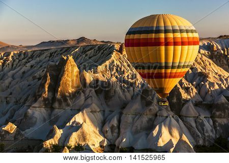 Wiev Of Uchisar With Hot Air Balloon, Cappadocia