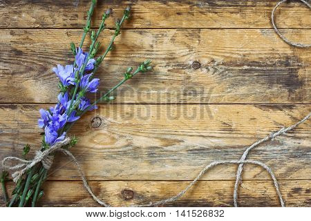 blue chicory flowers tied with rough rope on wooden planks