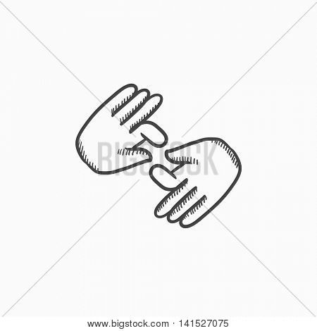 Finger language vector sketch icon isolated on background. Hand drawn Finger language icon. Finger language sketch icon for infographic, website or app.