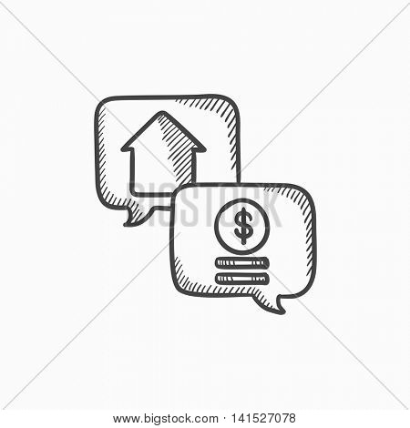Real estate transaction vector sketch icon isolated on background. Hand drawn Real estate transaction icon. Real estate transaction sketch icon for infographic, website or app.