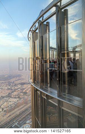 DUBAI UAE - JANUARY 23: Burj Khalifa observation platform Khalifa Tower known as Burj Dubai before its inauguration is a megatall skyscraper in Dubai United Arab Emirates. Dubai UAE circa January 2016