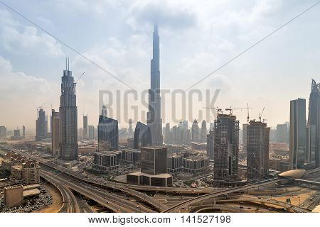 DUBAI UAE - JANUARY 23 2016: Panorama of Burj Khalifa tallest building in the world 829.8 m. Dubai Burj Khalifa United Arab Emirates