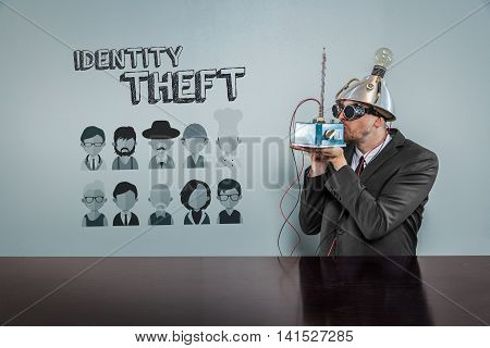 Identity theft text with vintage businessman kissing machine