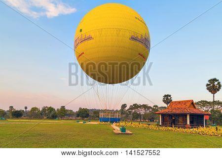 Angkor Wat Siem Reap Cambodia - MARCH 01 2015 : Most balloonists enjoy low level flight. Angkor Hot Air Balloon Siem Reap.