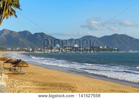 beach in Nha Trang on Vietnam summer vacation
