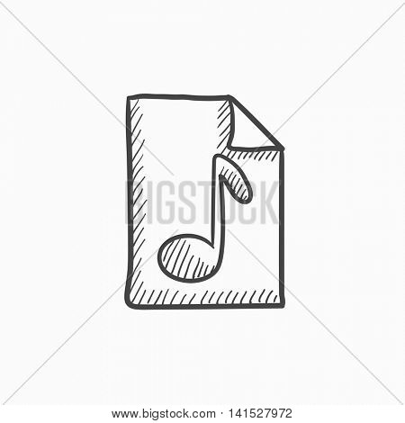 Musical note drawn on sheet vector sketch icon isolated on background. Hand drawn Musical note drawn on sheet icon. Musical note drawn on sheet sketch icon for infographic, website or app.