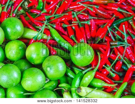 red chili pepper and lime background fresh space spicy