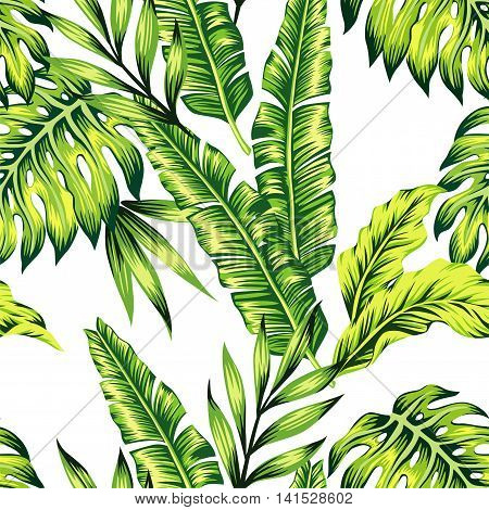 Fashion painting jungle wallpaper of exotic tropic plants of banana palm leaves. Print Hawaii seamless vector pattern on trendy white background