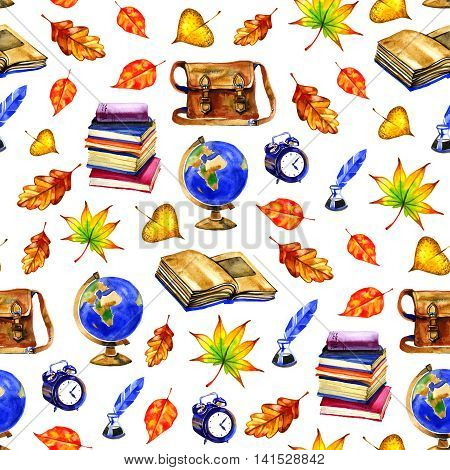 Watercolor pattern with autumn school elements on white background.Hand drawing clouds autumn books globe bags and autumn leaves.