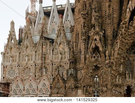 SPAIN - AUGUST 24: La Sagrada Familia - cathedral designed by Antoni Gaudi which is being build since 1882 and is not finished yet August 24 2012 in Barcelona Spain.