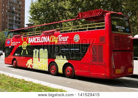 SPAIN - AUGUST 1:Barcelona City Tour is a official touristic bus service that shows the city with an audio guide August 1 2012 in Barcelona Spain.