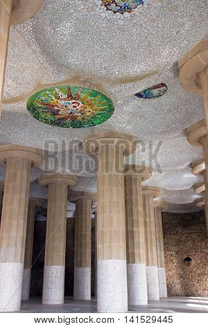 Colonnade In Park Guell