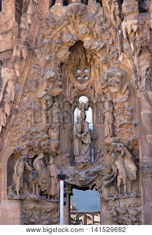 SPAIN - AUGUST 3: La Sagrada Familia - cathedral designed by Antoni Gaudi which is being build since 1882 and is not finished yet August 3 2012 in Barcelona Spain.