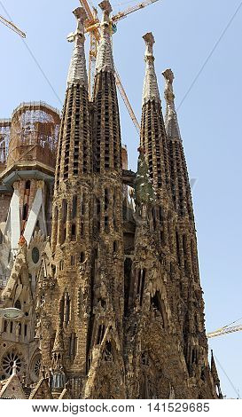 SPAIN - AUGUST 18: La Sagrada Familia - cathedral designed by Antoni Gaudi which is being build since 1882 and is not finished yet August 18 2012 in Barcelona Spain.