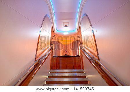 DUBAI, UAE - DECEMBER 10, 2014: inside of Emirates Airbus A380. Emirates  is an airline based in Dubai, United Arab Emirates.