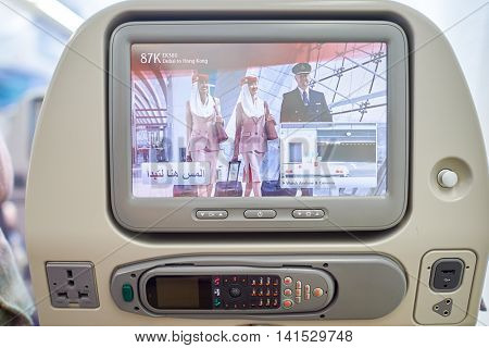 DUBAI, UAE - DECEMBER 10, 2014: inside of Emirates Airbus A380. Emirates  is an airline based in Dubai, United Arab Emirates.
