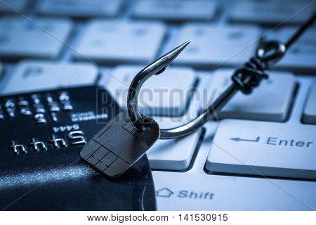 Computer threat. Credit card phishing attack on data chip