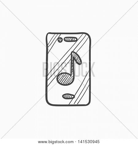 Phone with musical note vector sketch icon isolated on background. Hand drawn Phone with musical note icon. Phone with musical note sketch icon for infographic, website or app.