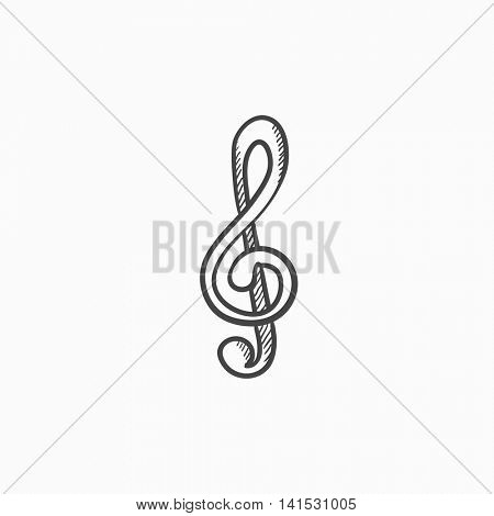 G-clef vector sketch icon isolated on background. Hand drawn G-clef icon. G-clef sketch icon for infographic, website or app.