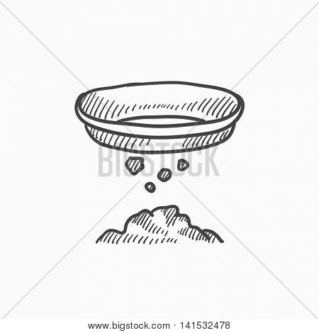Mining vector sketch icon isolated on background. Hand drawn Mining icon. Mining sketch icon for infographic, website or app.