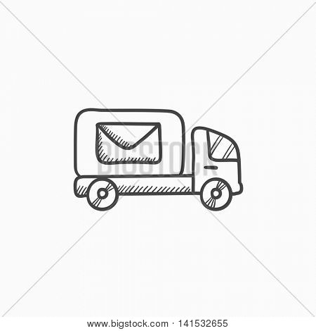 Mail van  vector sketch icon isolated on background. Hand drawn Mail van  icon. Mail van  sketch icon for infographic, website or app.