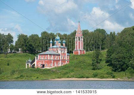 The old Church of the icon of mother of God of Kazan on the left bank of the Volga river, july afternoon. Tutayev, Yaroslavl region, Russia