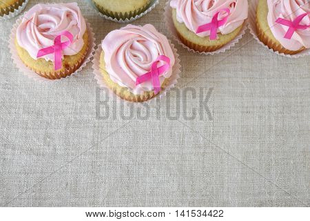 Rose Flower Cupcakes For Pink Ribbon Day, Breast Cancer Awareness