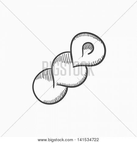 Spiral bread vector sketch icon isolated on background. Hand drawn Spiral bread icon. Spiral bread sketch icon for infographic, website or app.