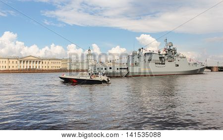 St. Petersburg, Russia - 31 July, The boat is a large warship, 31 July, 2016. Festive parade of warships on the Neva River in St. Petersburg.