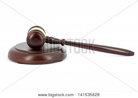 Wooden gavel and sound block isolated on white background