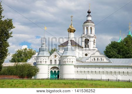 View of old Holy gates and Church of St. Nicholas of cloud by day. Svyato-Vvedensky Tolgsky convent, Yaroslavl, Russia