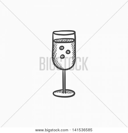 Glass of champagne vector sketch icon isolated on background. Hand drawn Glass of champagne icon. Glass of champagne sketch icon for infographic, website or app.