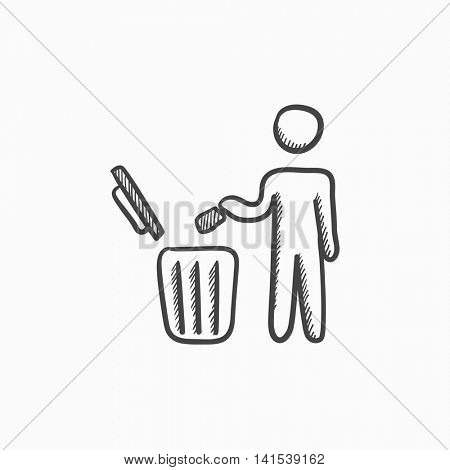 Man throwing garbage in a bin vector sketch icon isolated on background. Hand drawn Man throwing garbage in a bin icon. Man throwing garbage in a bin sketch icon for infographic, website or app.