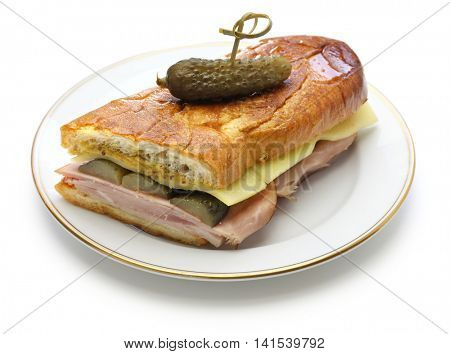 cuban sandwich, cuban mix, ham and cheese pressed sandwich isolated on white background