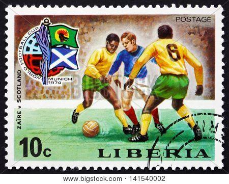 LIBERIA - CIRCA 1974: a stamp printed in Liberia shows Soccer Game Zaire and Scotland World Cup Soccer Championship Munich circa 1974