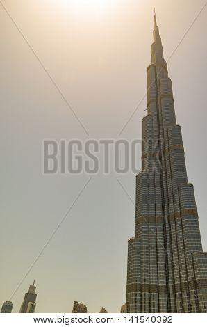 Dubai United Arab Emirates 14 May 2014  Beautiful  Burj Khalifa in the global city of Dubai