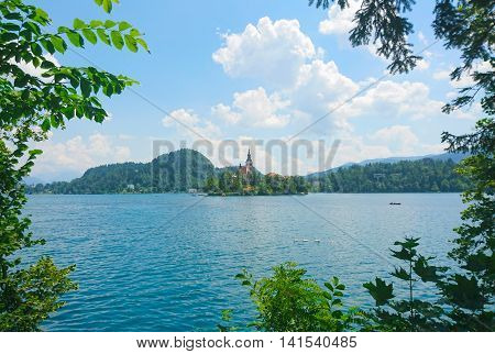 Church on an island in the middle of Bled lake, Slovenia