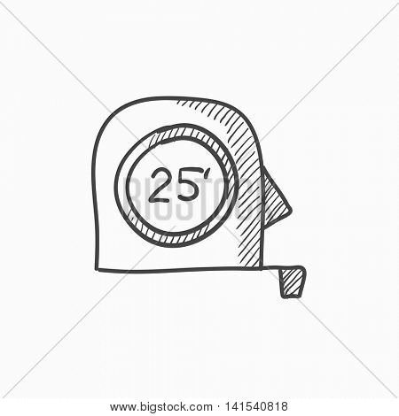 Tape measure vector sketch icon isolated on background. Hand drawn Tape measure icon. Tape measure sketch icon for infographic, website or app.