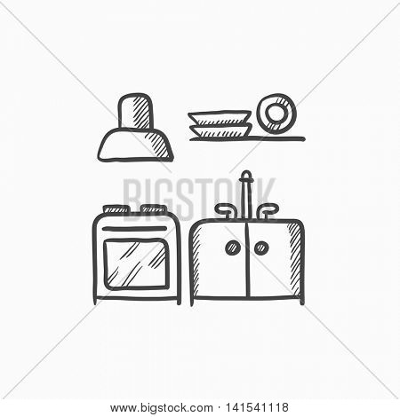 Kitchen interior vector sketch icon isolated on background. Hand drawn Kitchen interior icon. Kitchen interior sketch icon for infographic, website or app.